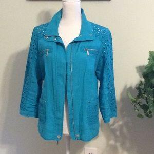 ❤️CHICOS turquoise linen/cotton blend jacket